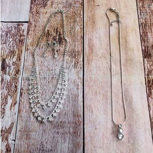Rhinestone necklaces  and earrings